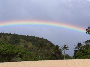 Rainbow at Waimea Bay